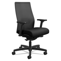 Hon Ignition 2.0 4-Way Stretch Mid-Back Mesh Task Chair, Supports up to 300 lbs., Black Seat/Back, Black Base