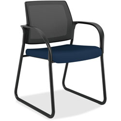 Hon Guest Chair, Sled Base, 25 in x 21-3/4 in x 33-1/2 in, Navy Fabric