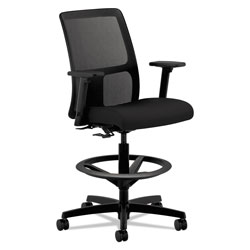 Hon Ignition Series Mesh Low-Back Task Stool, 33 in Seat Height, Supports up to 300 lbs., Black Seat/Black Back, Black Base