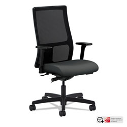 Hon Ignition Series Mesh Mid-Back Work Chair, Supports up to 300 lbs., Iron Ore Seat/Black Back, Black Base