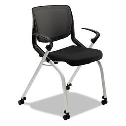 Hon Motivate Nesting/Stacking Flex-Back Chair, Onyx Seat/Black Back, Platinum Base