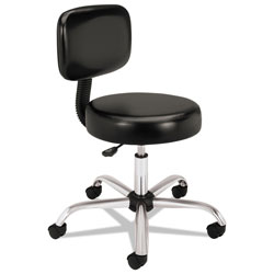 Hon Adjustable Task/Lab Stool with Back, 22 in Seat Height, Supports up to 250 lbs., Black Seat/Black Back, Steel Base