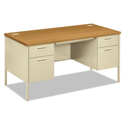 Hon Metro Classic Double Pedestal Desk, 60w x 30d x 29.5h, Harvest/Putty
