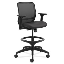 Hon Quotient Series Mesh Mid-Back Task Stool, 33 in Seat Height, Supports up to 300 lbs., Black Seat/Black Back, Black Base
