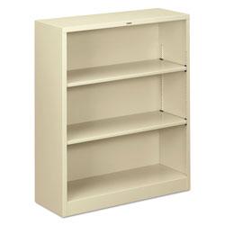 Hon Metal Bookcase, Three-Shelf, 34-1/2w x 12-5/8d x 41h, Putty