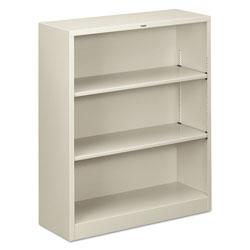 Hon Metal Bookcase, Three-Shelf, 34-1/2w x 12-5/8d x 41h, Light Gray