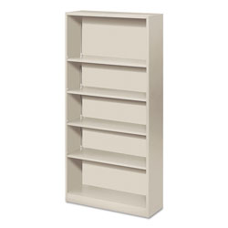 Hon Metal Bookcase, Five-Shelf, 34-1/2w x 12-5/8d x 71h, Light Gray