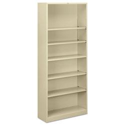 Hon Metal Bookcase, Six-Shelf, 34-1/2w x 12-5/8d x 81-1/8h, Putty