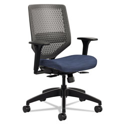 Hon Solve Series ReActiv Back Task Chair, Supports up to 300 lbs., Midnight Seat/Charcoal Back, Black Base