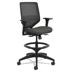 Hon Solve Series Mesh Back Task Stool, Supports up to 300 lbs., Ink Seat, Ink Back, Black Base