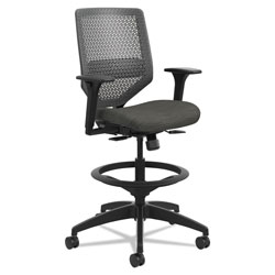 Hon Solve Series ReActiv Back Task Stool, 33 in Seat Height, Supports up to 300 lbs., Ink Seat/Charcoal Back, Black Base