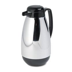 Hormel Vacuum Glass Lined Chrome-Plated Carafe, 1L Capacity, Black Trim