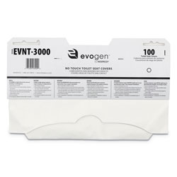 Hospeco Evogen No Touch Toilet Seat Covers, 15 1/2 in x 9 1/4 in, White, 3000/Carton