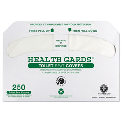 Hospeco Health Gards Green Seal Recycled Toilet Seat Covers, White, 250/PK, 4 PK/CT