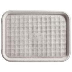 Chinet Savaday Molded Fiber Flat Food Tray, White, 12x16, 200/Carton