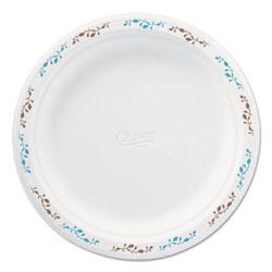 Chinet Molded Fiber Dinnerware, Plate, 8 3/4 inDia, White, Vines Theme, 500/Carton