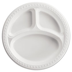 Chinet Heavyweight Plastic 3 Compartment Plates, 10 1/4 in Dia, White, 125/PK, 4 PK/CT