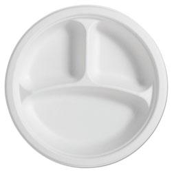 Chinet PaperPro Naturals Fiber Round Plates, 3-Comp, 10 1/4 in, Natural, 125/PK, 4 PK/CT