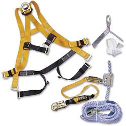 Honeywell Fall Protection Kit, Roofing, 50' Rope Lifeline, Yellow