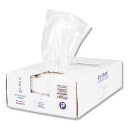 InteplastPitt Ice Bucket Liner Bags, 3 qt, 0.5 mil, 6 in x 12 in, Clear, 1,000/Carton