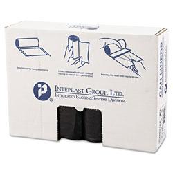 InteplastPitt High-Density Can Liner, 33 x 40, 33gal, 16mic, Black, 25/Roll, 10 Rolls/Carton