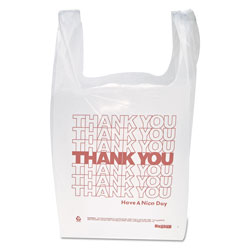 InteplastPitt  inThank You in Handled T-Shirt Bag, 0.167 bbl, 12.5 microns, 11.5 in x 21 in, White, 900/Carton