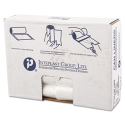 InteplastPitt High-Density Commercial Can Liners Value Pack, 30 gal, 11 microns, 30 in x 36 in, Clear, 500/Carton