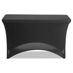 Iceberg Stretch-Fabric Table Cover, Polyester/Spandex, 24 in x 48 in, Black
