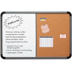 Iceberg Combo Dry Erase/Cork Board, 48 x 36, White/Cork, Charcoal Frame