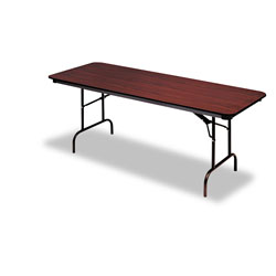 Iceberg Premium Wood Laminate Folding Table, Rectangular, 96w x 30d x 29h, Mahogany