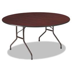 Iceberg Premium Wood Laminate Folding Table, 60 Dia. x 29h, Mahogany Top/Gray Base