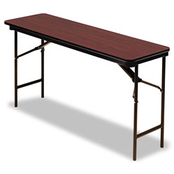 Iceberg Premium Wood Laminate Folding Table, Rectangular, 60w x 18d x 29h, Mahogany
