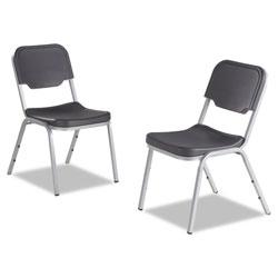 Iceberg Rough 'N Ready Original Stack Chair, Charcoal Seat/Charcoal Back, Silver Base, 4/Carton