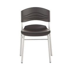 Iceberg CaféWorks Cafe Chair, Graphite Seat/Graphite Back, Silver Base, 2/Carton