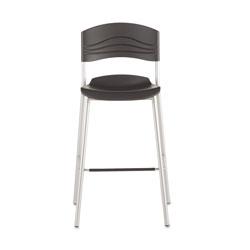 Iceberg CaféWorks Bistro Stool, Graphite Seat/Graphite Back, Silver Base