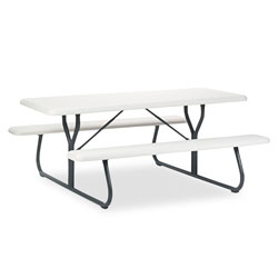 Iceberg IndestrucTables Too 1200 Series Resin Picnic Table, 72w x 30d, Platinum/Gray
