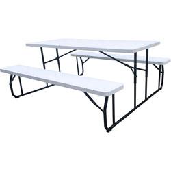 Iceberg Picnic Table, Folding, 600/650 lb Cap, 71 inx65 inx29 in , WE/BK