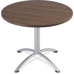 Iceberg iLand Table, Contour, Round Seated Style, 36 in dia. x 29 in, Natural Teak/Silver