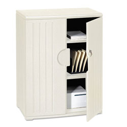 Iceberg OfficeWorks Resin Storage Cabinet, 36w x 22d x 46h, Platinum