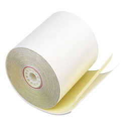 Iconex Impact Printing Carbonless Paper Rolls, 3 in x 90 ft, White/Canary, 50/Carton