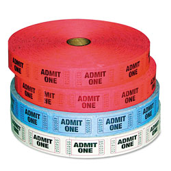 Iconex Admit-One Ticket Multi-Pack, 4 Rolls, 2 Red, 1 Blue, 1 White, 2000/Roll
