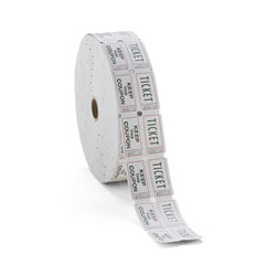 Iconex Consecutively Numbered Double Ticket Roll, White, 2000 Tickets/Roll
