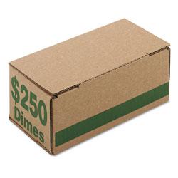 Iconex Corrugated Cardboard Coin Storage w/Denomination Printed On Side, Green