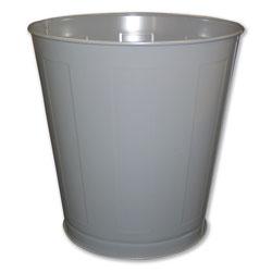Impact Round Metal Wastebasket, Round, Steel, 28 qt, Gray