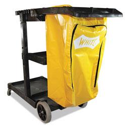 Impact Janitorial Cart, Three-Shelves, 20.5w x 48d x 38h, Yellow