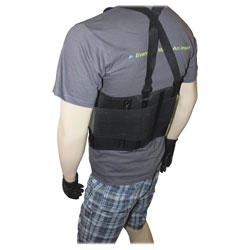 """Impact Deluxe Back Support, 7"""" Back Panel, Single Closure w/Suspenders, Large, Black"""