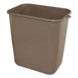 Impact Soft-Sided Wastebasket, Rectangular, Polyethylene, 28 qt, Beige