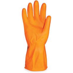 Impact Latex Gloves, Deluxe Flock Lined, 12 inL, Small,12/DZ, Orange