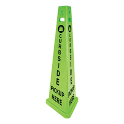 Impact TriVu 3-Sided Curbside Pickup Here Sign, Fluorescent Green, 14.75 x 12.7 x 40, Plastic