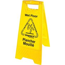 Impact Wet Floor Sign, English/Spanish, 6/CT, Yellow/Black